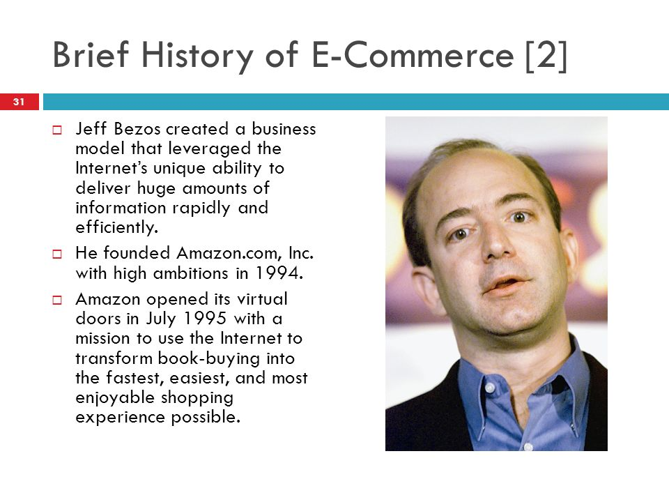 history of e commerce Blog post showing a history of ecommerce infographic and discussing the latest trends in ecommerce, including mobile or m-commerce.